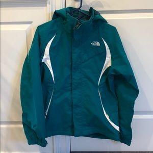 New North Face turquoise white paneling ski jacket